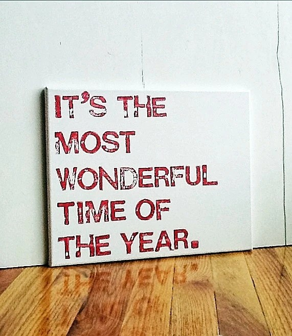 11X14 Canvas Sign, Holiday Sign, Christmas Decoration, Gift, It's the Most Wonderful Time of the Year, Red and White - EpiphanysCorner