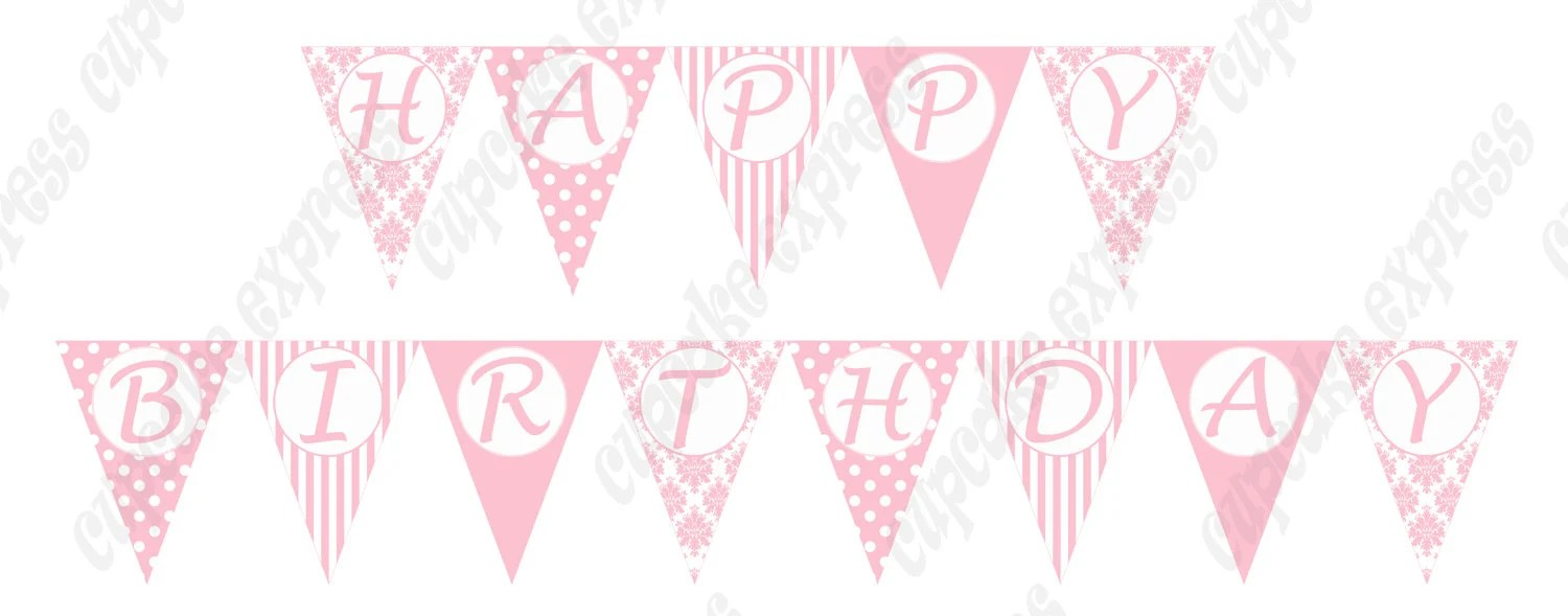 Shabby Chic Banner Printable Birthday Party BANNER Pink White