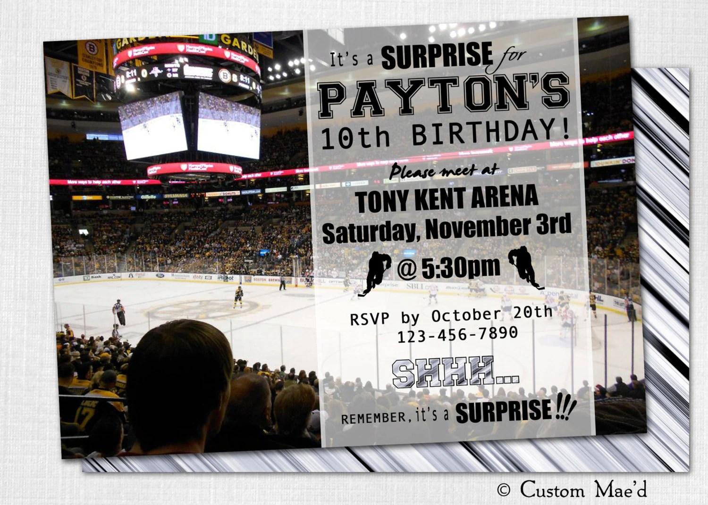 Hockey Birthday Party Invitation Printable Digital By Customaed