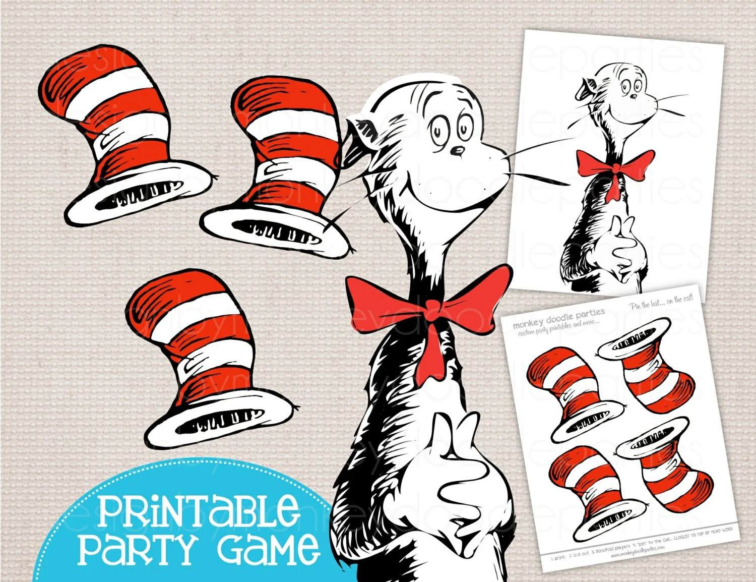 Adorable Pin The Hat On The Cat Dr Seuss Inspired Printable
