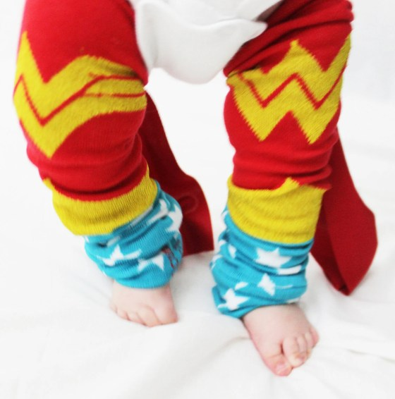 Baby to Toddler Wonder Woman Leg Warmers with Cape- Giggle Poo