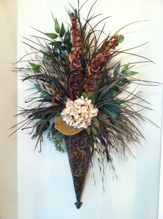 Wall Sconce Cream Hydrangea & Feather Wall Pocket Large on Wall Sconce Floral Arrangements Arrangement id=53967