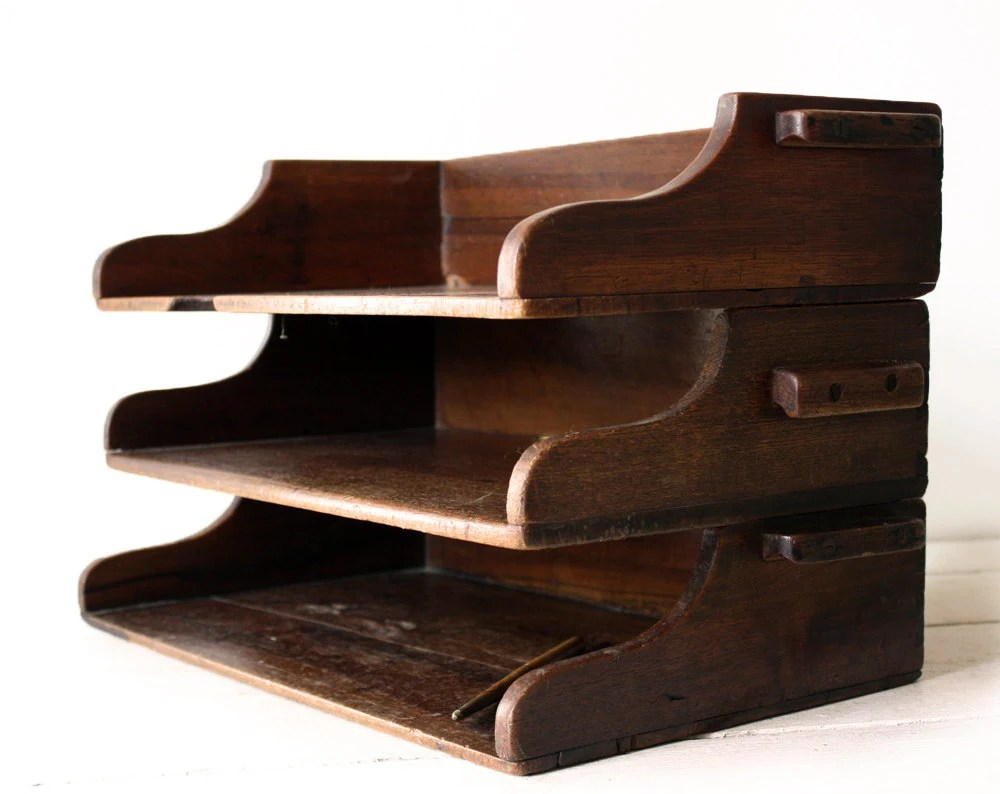 Antique French Wooden DESK ORGANIZER DRAWER File Case