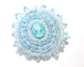 Light Blue Cameo Brooch - MegansBeadedDesigns