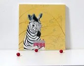 Kids room art, Baby Zebra Painting, children art, zebra acrylic painting, safari animals, whimsical zebra illustration by inameliart - inameliart