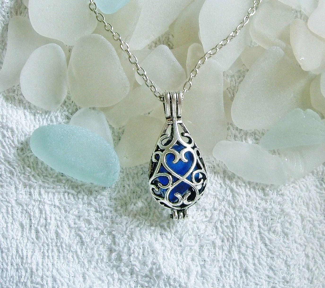 Sea glass locket necklace. Blue teardrop locket. Sea glass jewelry. - EgyptianInspirations