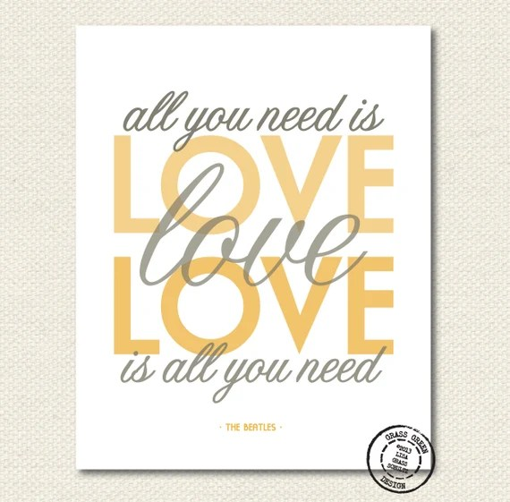Download The Beatles All You Need Is Love Gray and Gold 8x10 Art Print