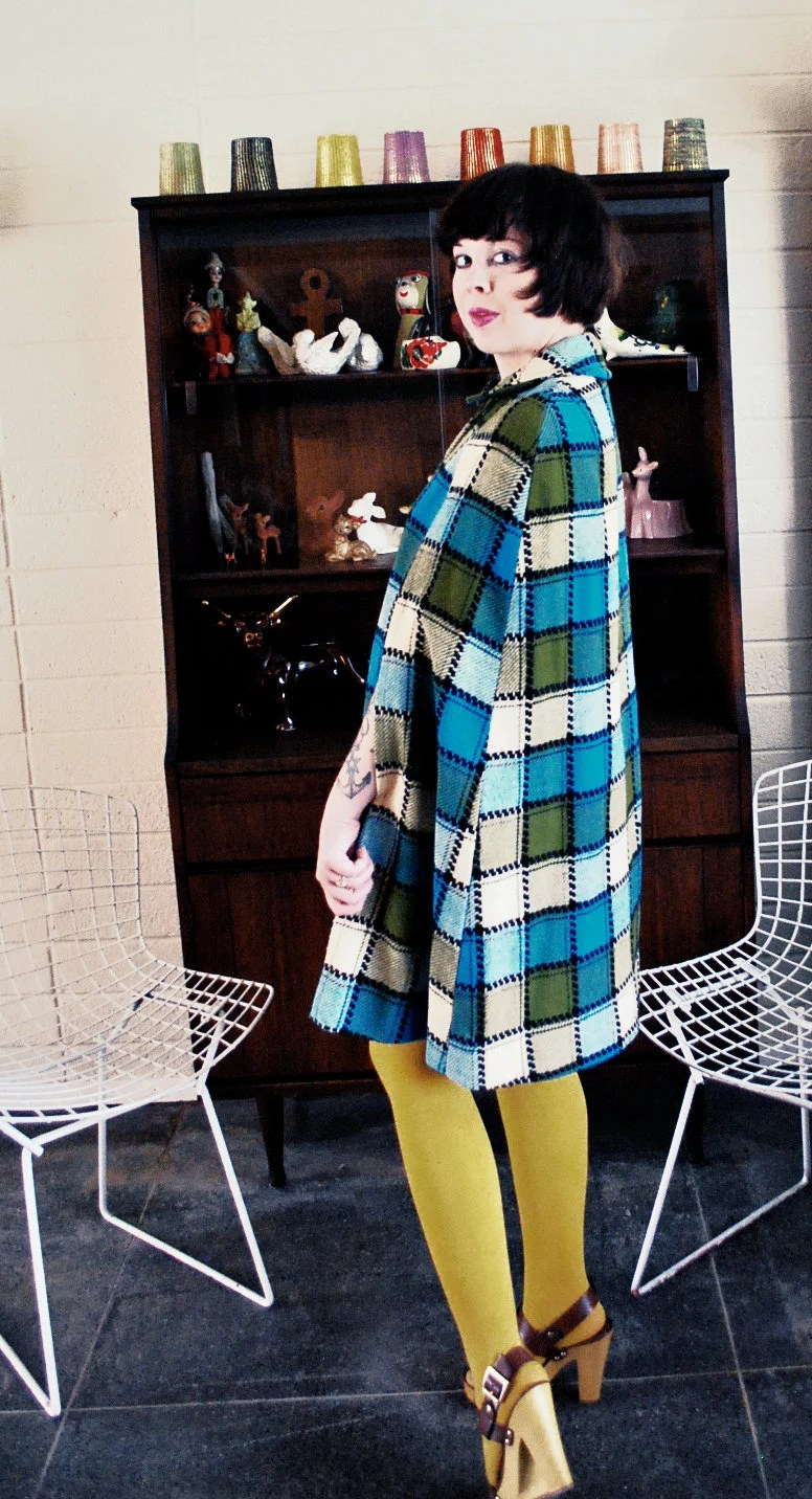 AUTUMN SALE  Vintage 1960's-70's Plaid Wool Mod Blue and Green Cape