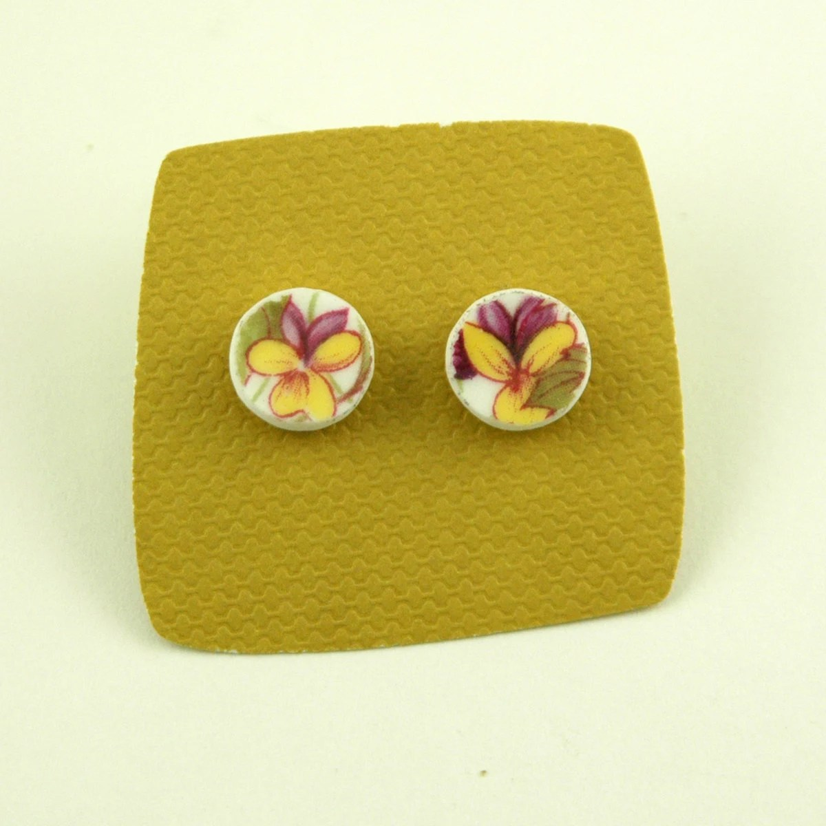 Purple Pansies Broken Plate Earrings- Recycled From Vintage Porcelain China - ModernGarden