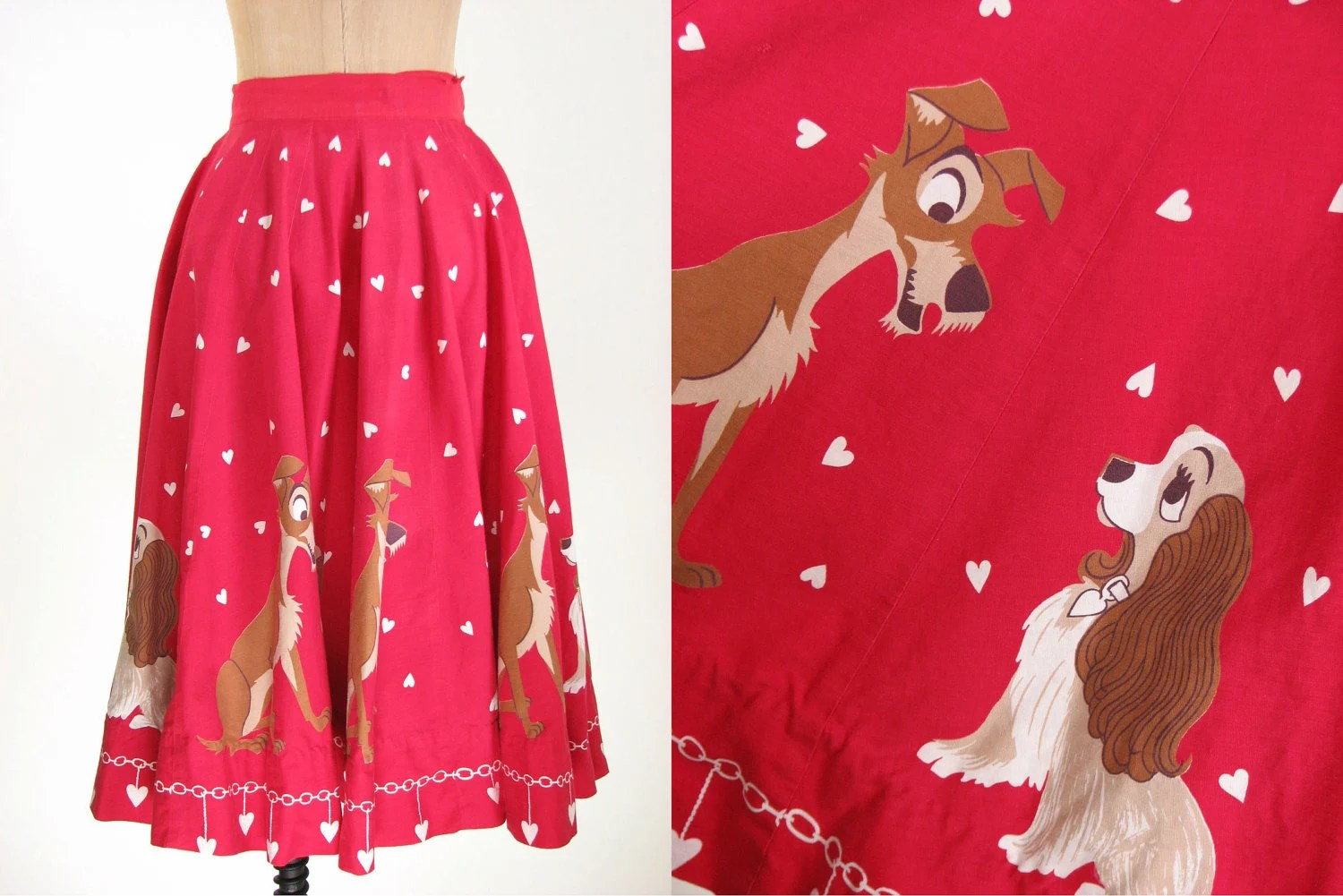 vintage lady and tramp full skirt 50's