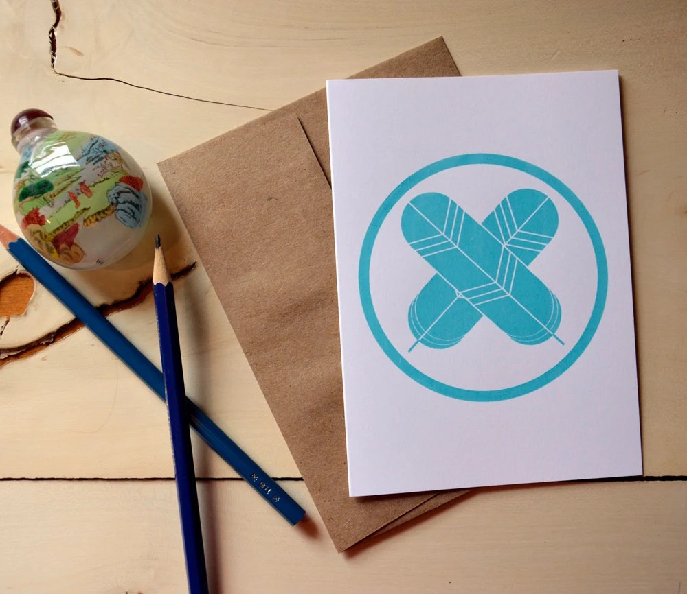 Japanese Family Crest  Card- Hawk Feathers in Turquoise - kathrynkellyworkshop