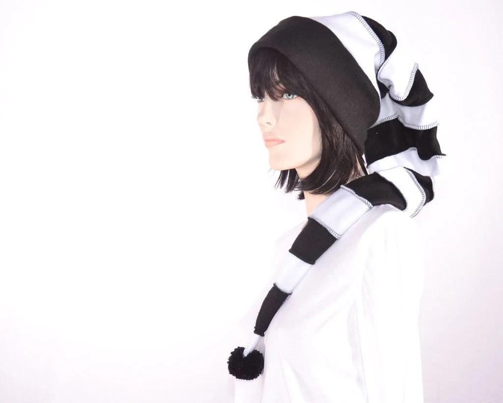 Goth Long Stocking Cap Black White Striped Hat Extra Long Men Women Stocking Hat Elf Hat - MountainGoth