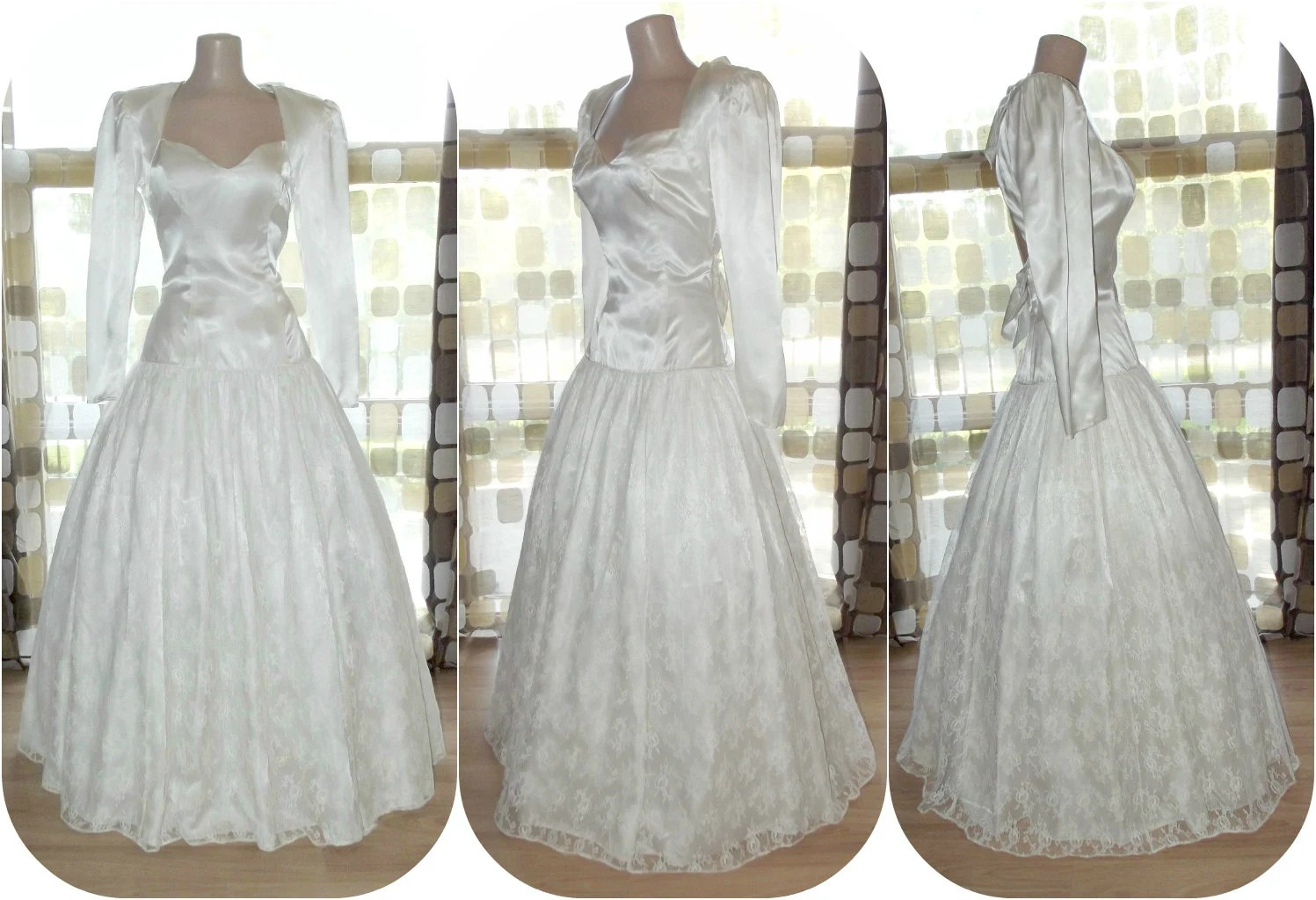 Vintage 80s Ball Gown 1980s Wedding Dress White Lace Prom