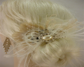 Wedding Hair Accessory, Feather Fascinator, Bridal Fascinator, Bridal Hair accessory, Bridal Veil, Wedding Veil