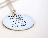 Stamped Metal Jewelry - Inspirational Necklace - tabbycatdesign