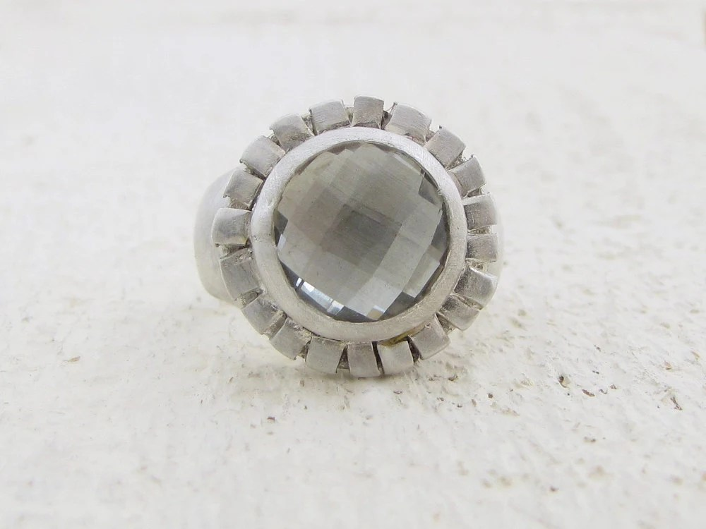Gemstone Ring - Green Amethyst  Ring -  Silver Ring - Omiya