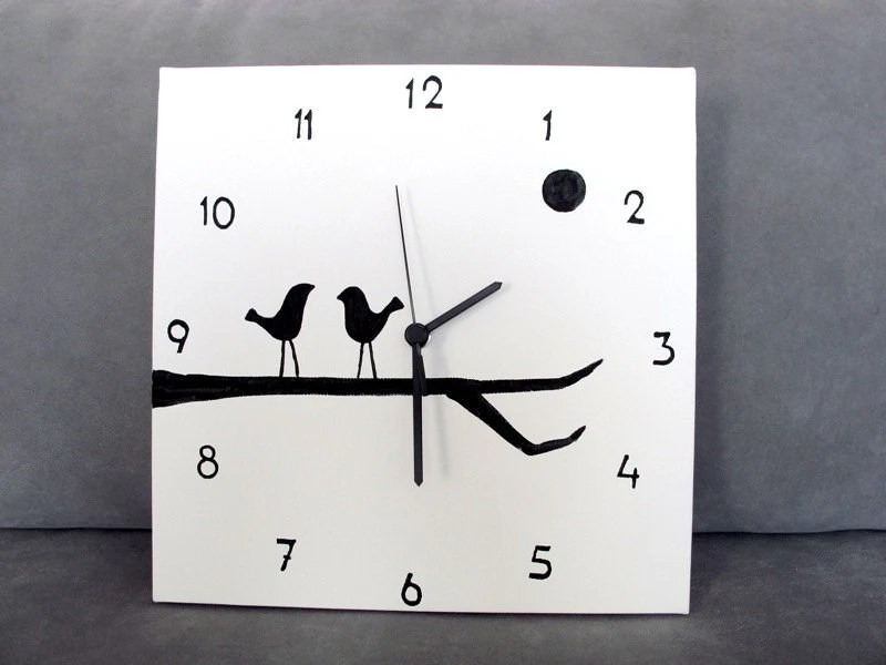 Wall Clock Black And White Birds Clock Birds On A Branch