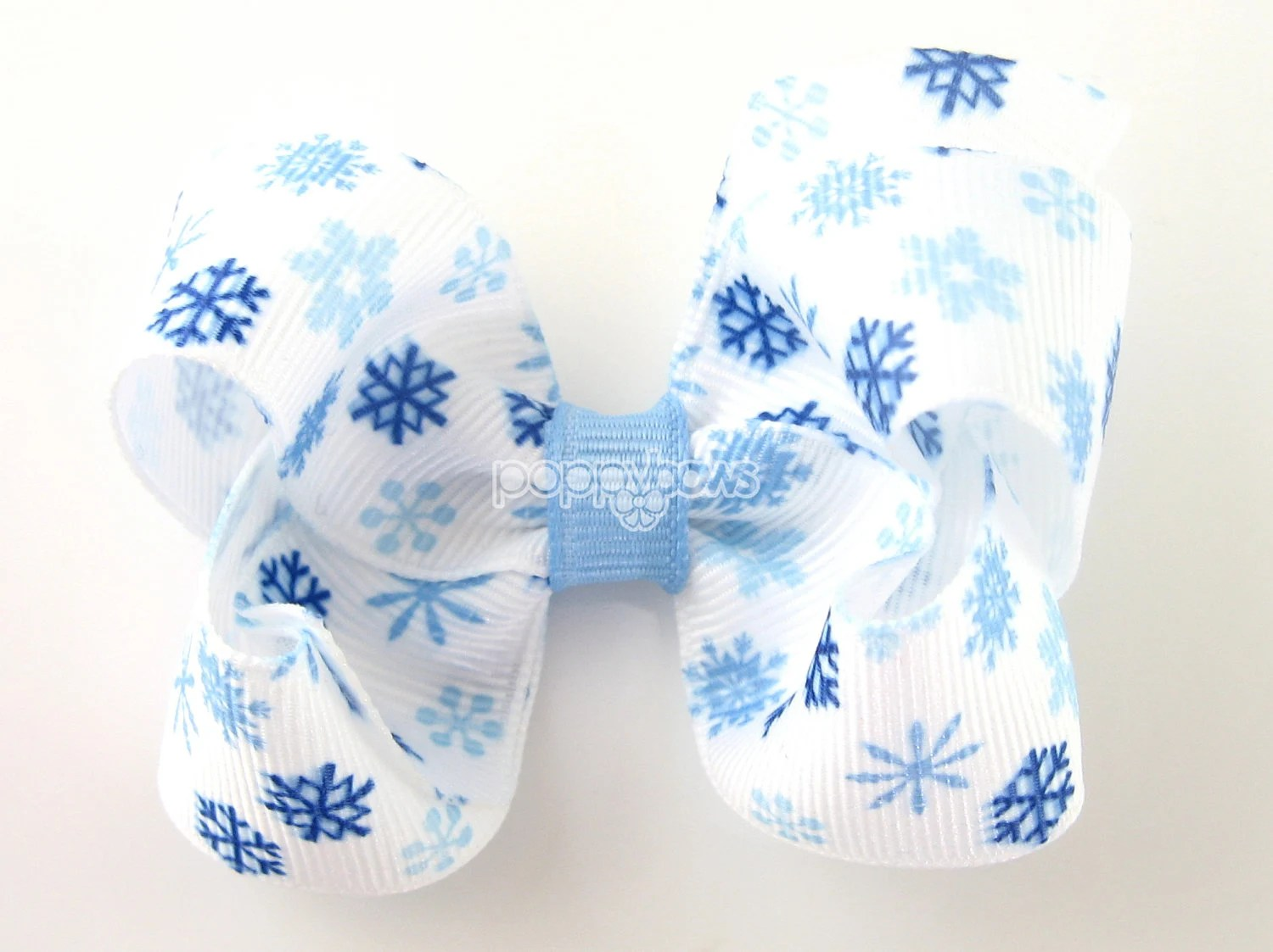 Snowflake Hair Bow - 3 Inch Winter Hairbow White Light Blue Royal Blue - Baby Toddler Girl - 3 Inch Boutique Hair Bow - PoppyBows