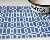 Pet Food Mat - Blue Hexagons - Small Size - FREE US SHIPPING - toocutecustomcrafts