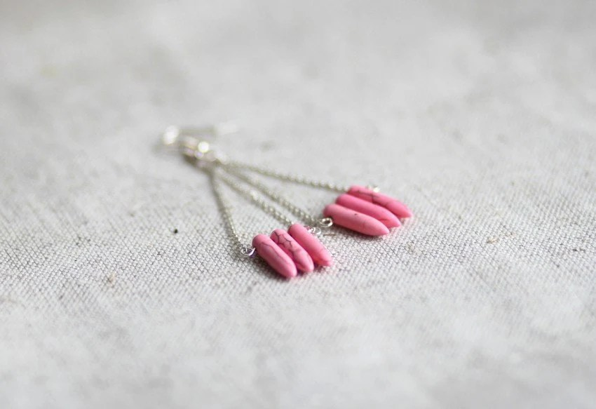 Pink Spike Earrings Pink Howlite Ethnic Tribal Jewelry Howlite Stone Earrings - JoannaBizu