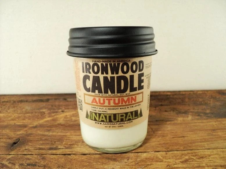 Autumn Ironwood Soy Candle in Jelly Jar - AUTUMN Scent - Housewarming Gift, Soy, Candle