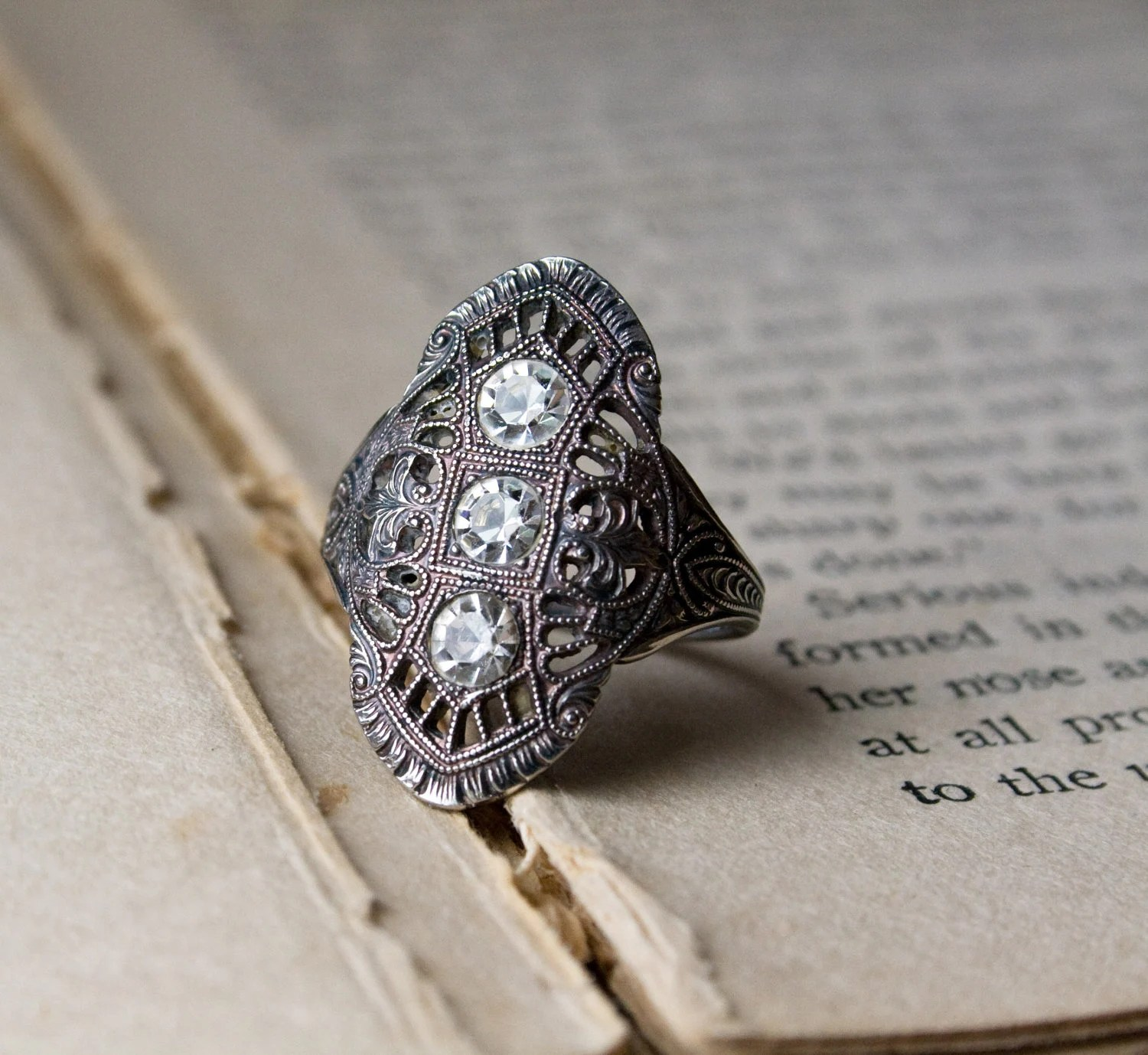 Art Deco Ring 1920s Jewelry 3 Jewel Filigree Cocktail Ring