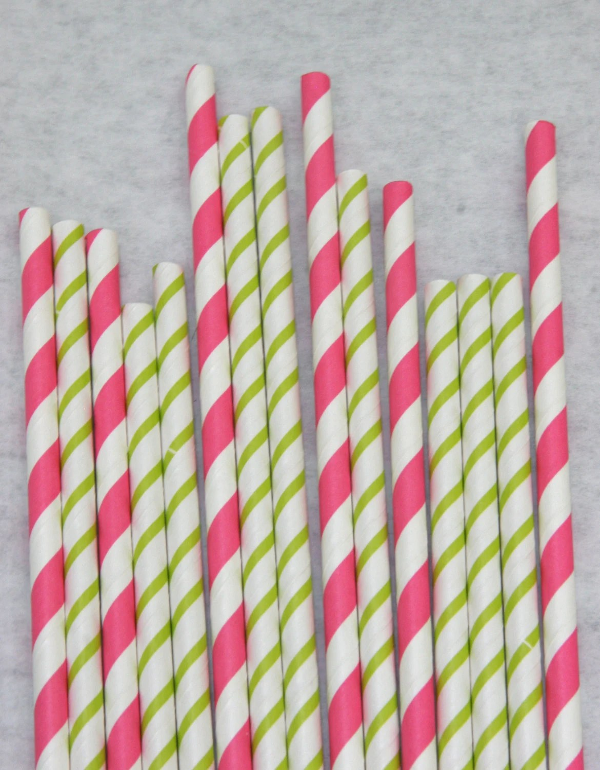 Hot Pink and Bright Green Paper Straws, Pack of 50, Vera Bradley-esque, Skinny Stripe