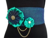 Denim Belt, Green Belt, Obi Belt, Wide Belt, Corset Belt  with Fabric Flowers, Gold Chains and Buttons - DerekaGayle