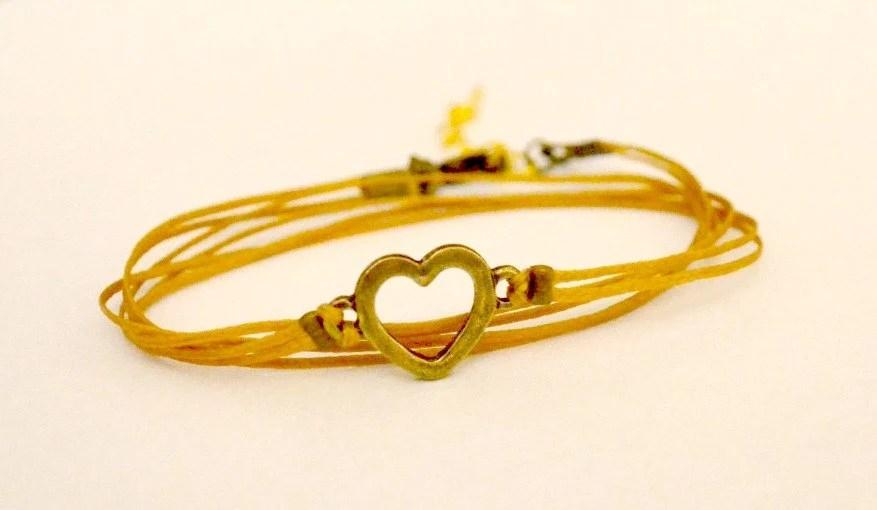 Wrapped heart bracelet - cord wrap bracelet with a bronze heart charm - golden brown string bracelet, elegant bracelet, delicate bracelet