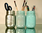 Back to School - Home, Dorm or Office Decor, Wedding - Mason Jars - Blue and Silver Ombre - Industrial - Pen and Pencil Holders - BeachBlues