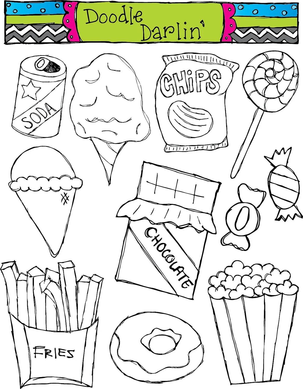 Junk Food Blackline Clipart Set Instant Download By
