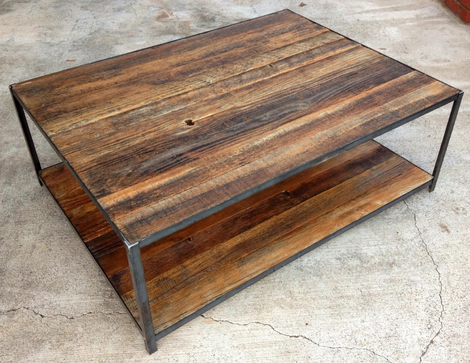 Reclaimed Wood and Angle Iron Coffee Table - TravisHayesFurniture