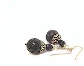 Black Lava earrings Greek Lava Stone Crystal Silver Spiritual gemstone jewelry Israeli - FestiJe
