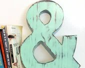 Wooden Ampersand  Mint Pine Wood Sign Wall Decor Rustic Americana Country Chic Wedding Photo Prop Nursery Kids Decor - ThePineNuts