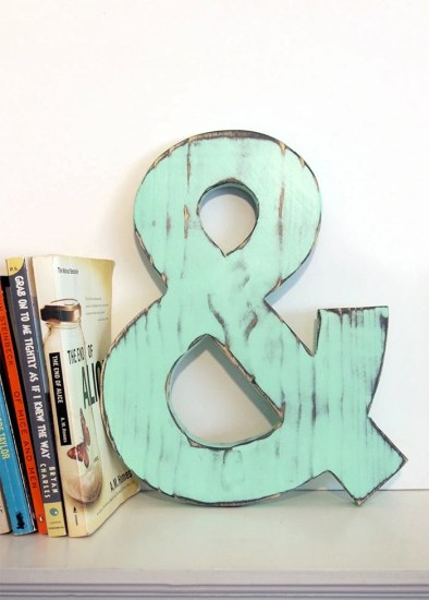 Wooden Ampersand  Mint Pine Wood Sign Wall Decor Rustic Americana Country Chic Wedding Photo Prop Nursery Kids Decor