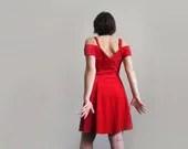 Black & red velour dress, 50s party dress, little red dress, hollywood prom dress - plot