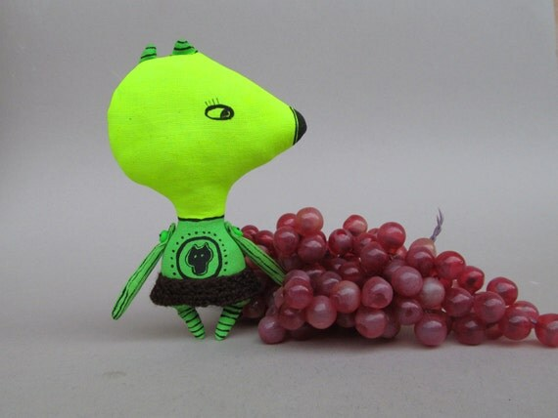 Minimalist animal doll - little fluorescent toy. Summer. Rag stuffed cloth art fashion doll