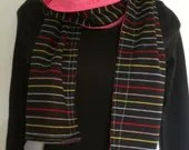 rainbow striped upcycled scarf