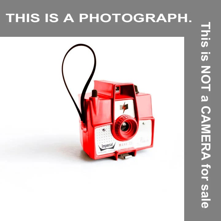 Vintage Mark XII Camera - retro photograph - Minimalist modern dad - toy camera - Photographers Gift in red and white - Raceytay