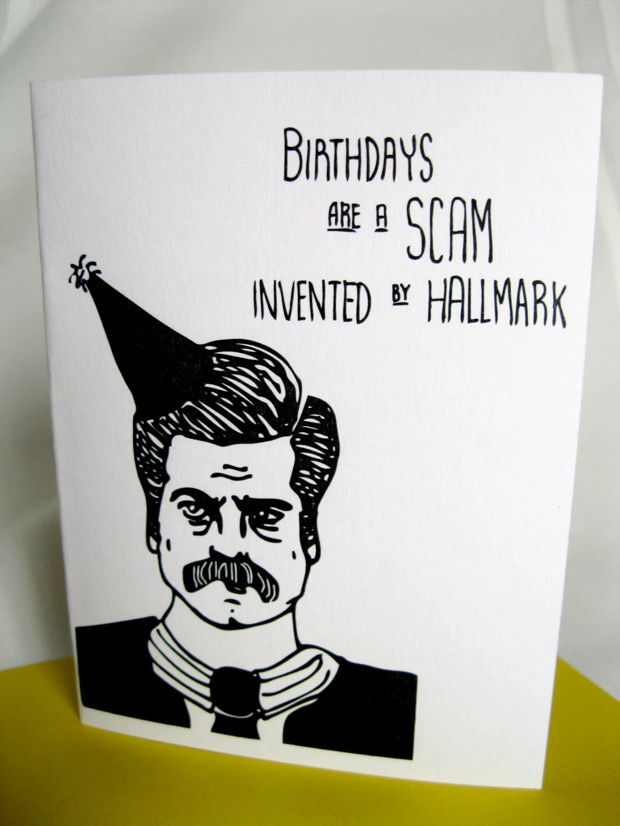 Items Similar To Ron Swanson Birthday Card On Etsy