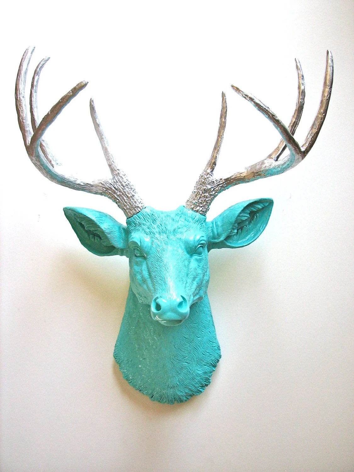 Faux Taxidermy Deer Head wall mount in aqua and silver: Deerman the Deer Head