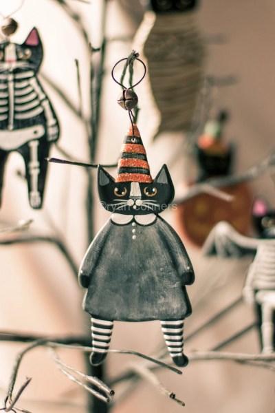 Witch Cat Ornament by Kilkennycat Art