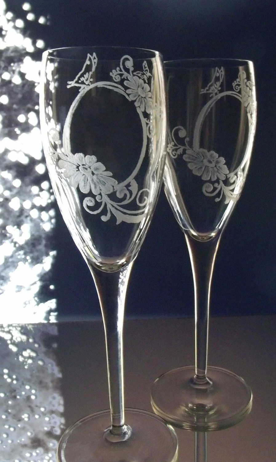 Clear crystal champagne flutes , hand engraved , personalized  , bridal flutes , toasting glasses , romance - GlassGoddessNgraving