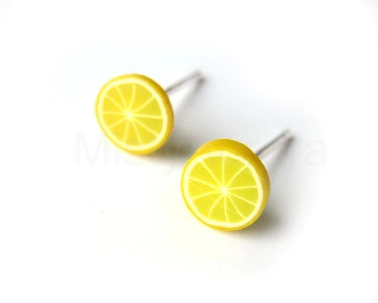 Lemon Earrings - Yellow Slice Studs - Polymer Clay - Free Shipping Etsy - Gift for her under 10 - MistyAurora