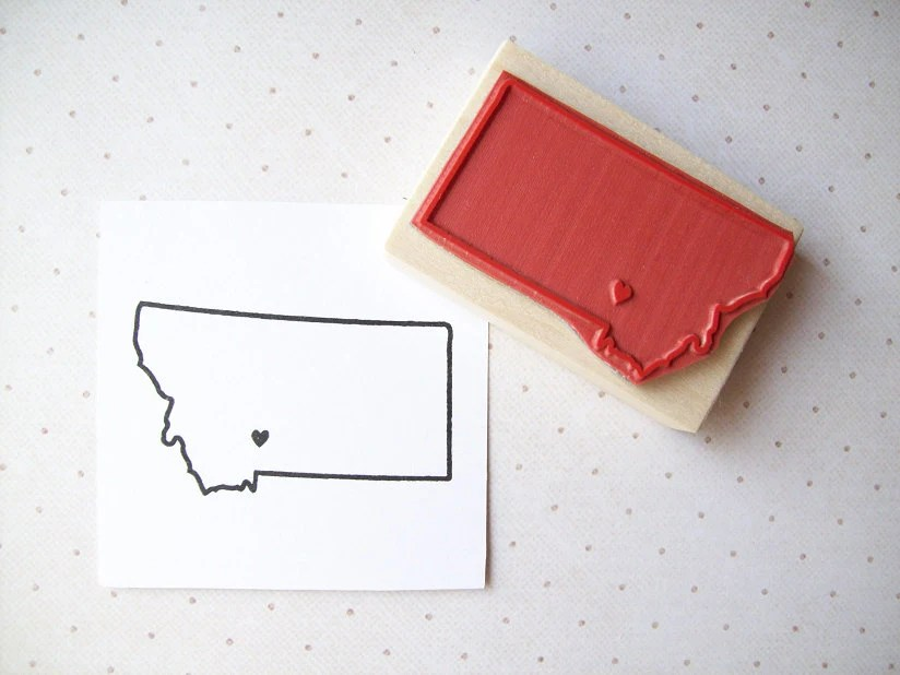 Custom US State Rubber Stamp with Heart Over Your City - HappyRainyDay