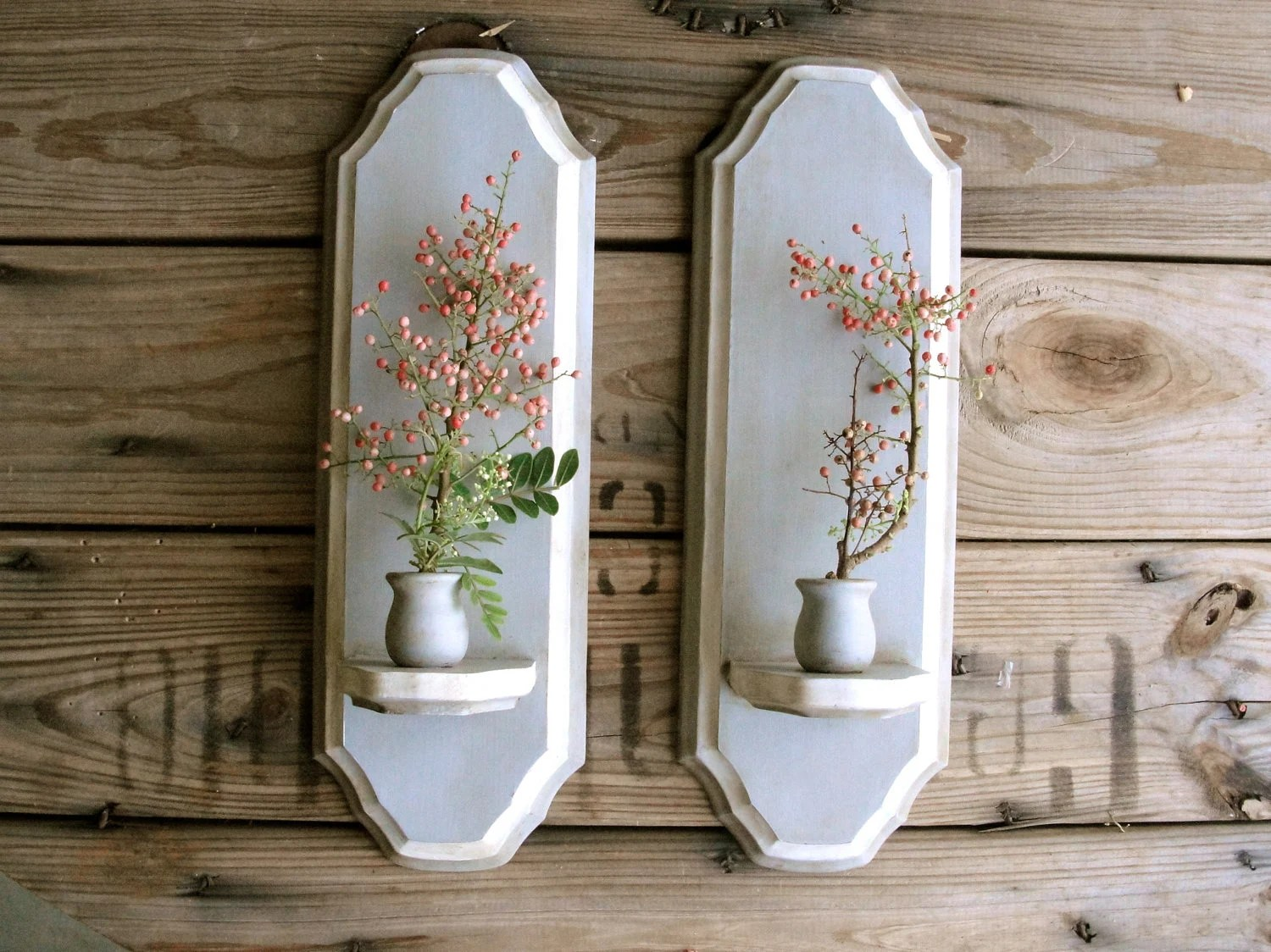 wall sconces pair of upcycled wood candle holders taper on Wood Wall Sconces id=39016