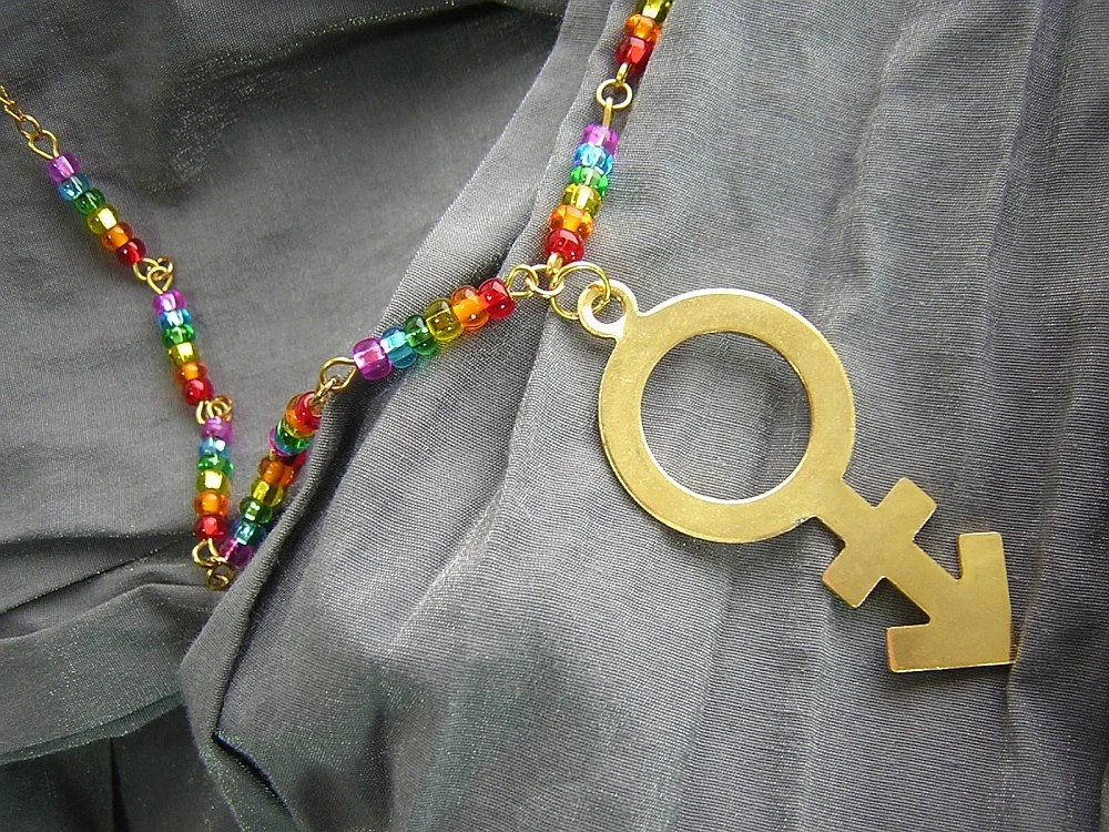 LGBT Pride Rainbow and Gold Pendant Necklace Handmade by Rewondered D225N-00364 - $29.95