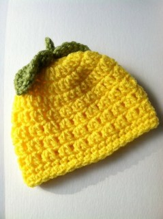 Crochet Baby Hat, Baby Hat, Lemony Yellow Baby Hat, Newborn Hat, Newborn Baby Hat, Lemon Hat, Citrus Fruit Hat