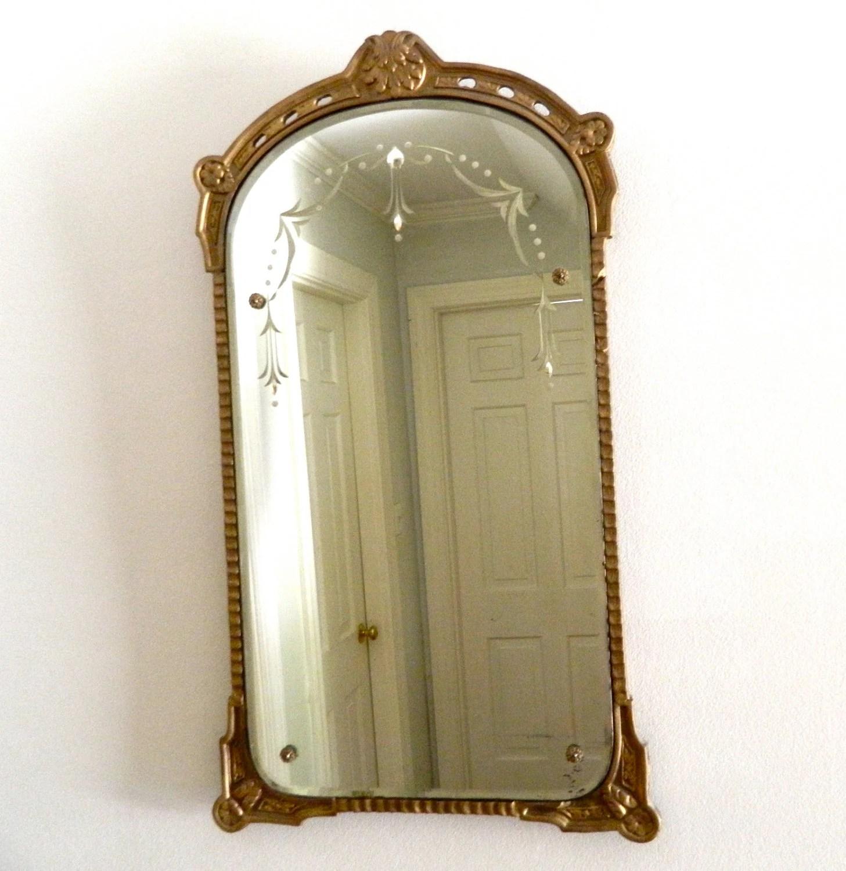 Vintage Etched Mirror Beveled GessoWood Frame