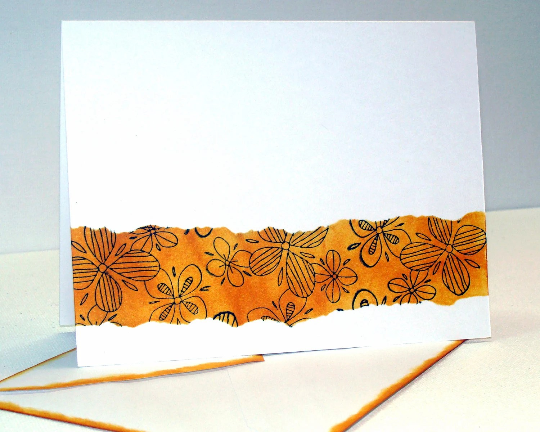 "Blank Note Card - ""Wild Honey"" Orange Distressed Ink - Matching Envelope"